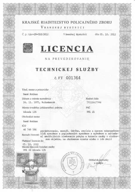Licencia na prevádzkovanie služby